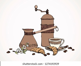 Old classic percolator, fresh hot black sweet brazil cocoa set on white table. Hand drawn tasty tea menu symbol. Arabian coffe cezve ware crockery sketch in art antique cartoon style on space for text