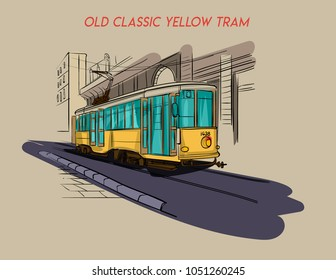 old classic yellow tram illustration vector