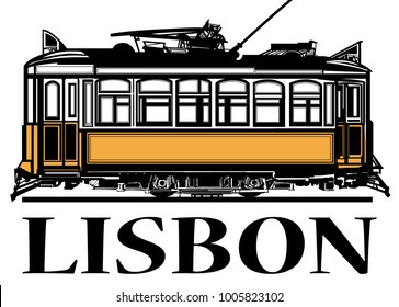 Old classic yellow tram of Lisbon - vector illustration