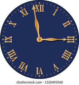 An Old Clock Face Design With No Background