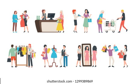 Old collection sale, fashion industry and shopping vector. Sellers and assistant managers, customers and clothes, garments and cash counter, mirror
