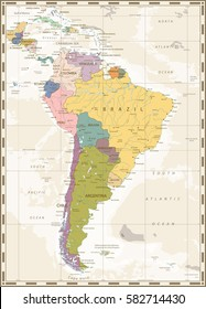 Old color map of South America with lakes and rivers.