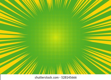 Old comic yellow green background with halftone gradient in pop art retro style.