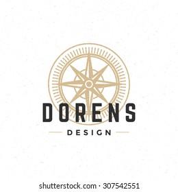 Old compass logo hand drawn vintage design element for labels, badges, stickers, emblems vector illustration.