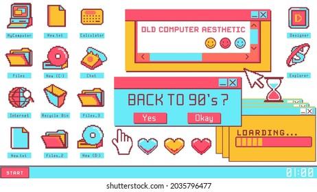 Old computer aesthetic illustration, nostalgia pixel window. Retro style desktop. Colorful user interface.