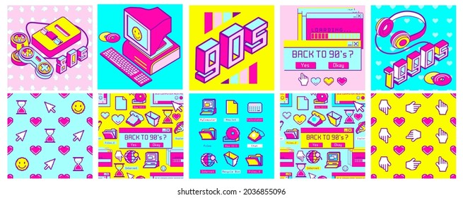 Old computer aesthetic square poster, vibrant seamless pattern. Sticker pack of retro computer elements. Nostalgia pixel window. Vivid 80s -90s style retro user interface and desktop illustration.