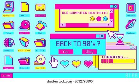 "Old computer aesthetic user interface. Retro style desktop. Back to 90""s banner, nostalgia pixel window."