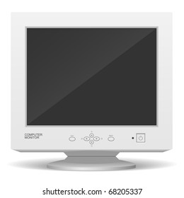 Old computer monitor. Realistic vector illustration.