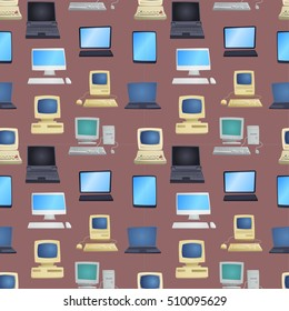 Old computer technology vector isolated seamless pattern