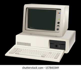old computer unit with a monitor on a black background