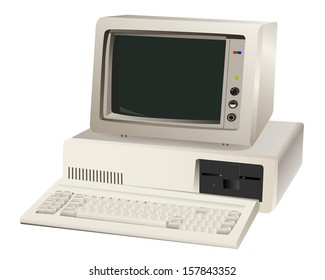 old computer unit with a monitor on a white background