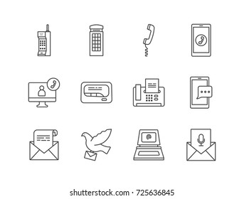 Old and contemporary communication ways, types line icons set with smartphone, retro cellphone, letter, pigeon post, email, telephone, pager, fax, video call.