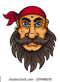 Old corsair in cartoon style for mascot or fairytale design
