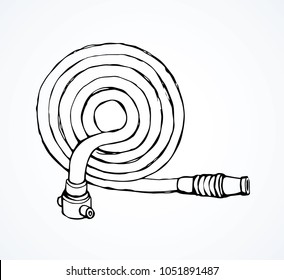 Old cotton pour attack pipeline firehose gear on white backdrop. Freehand black ink hand drawn 911 save risk object concept emblem logo sketchy in modern art scribble style pen on paper space for text