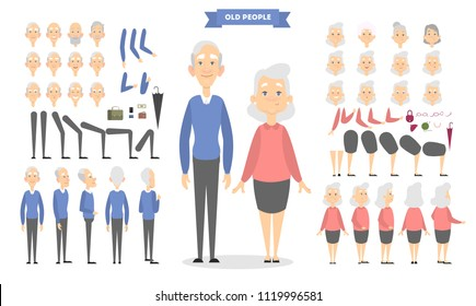 Old couple characters set with poses and emotions.