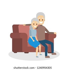 Old couple. Cute elderly character happy together. Grandmother and grandfather in love hug sitting on the couch. Isolated flat vector illustration
