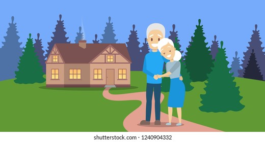 Old couple. Cute elderly character happy together. Grandmother and grandfather in love hug. Wooden house and nature on background. Isolated flat vector illustration