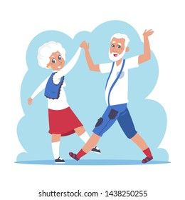 Old couple dancing. Cartoon happy granny and grandpa dancing, flat elderly people characters. Vector isolated active grandfather and grandmother on white background