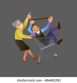 An old couple fooling around in the supermarket.Vector illustration of flat design.