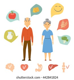 Old couple healthy food infographics. Human organ chart. People healthy lifestyle concept. Smile seniors diet. Heart, brain, liver, bone, stomach vector icon.