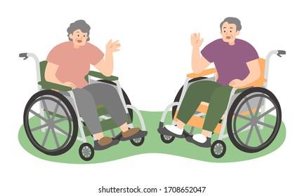 an old couple on wheelchair talking -vector illustration