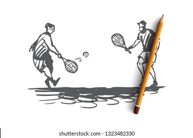 Old, couple, play, tennis, senior concept. Hand drawn old people man and woman play tennis concept sketch. Isolated vector illustration.