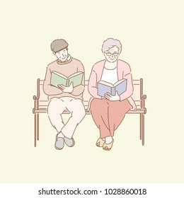 old couple reading book on the bench in the park. hand drawn style vector doodle design illustrations.