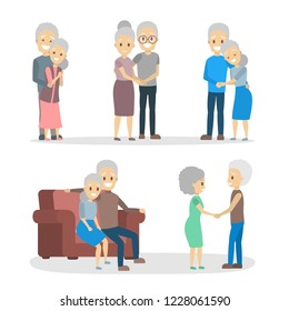 Old couple set. Cute elderly character happy together. Grandmother and grandfather in love. Isolated flat vector illustration