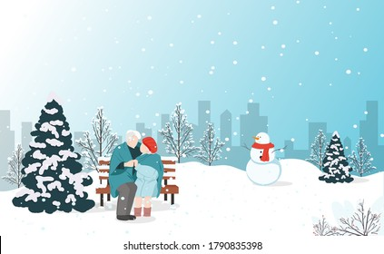 Old couple siiting on the banch in the winter city park. Merry chrastmas card and happy new year. Vector illustration