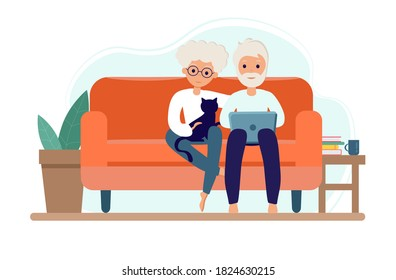 Old couple Stay at home. Senior Man and woman sitting on sofa with laptop. Pensioners with cat. Elderly people during coronavirus outbreak concept. Vector Illustration in flat style