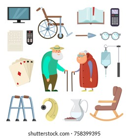 Old couples with different assistants tools for healthy life. Care couple elderly man and woman, support elements, vector illustration