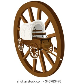 The old covered wagon in the background of a wooden wheel. The illustration on a white background.
