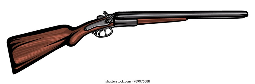 Old cowboy shotgun. Cartoon wild west rifle vector illustration with black outline.