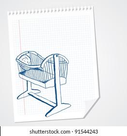 Old cradle vector doodle
