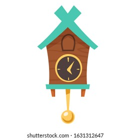 Old cuckoo clock. Vector cartoon illustration of wooden grandfather wall clock with gold pendulum and cabin for bird isolated on white background. Vintage watch with reminder