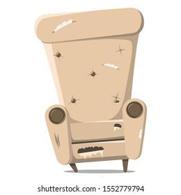 An old, damaged, large coffee-colored armchair. Design of broken upholstered furniture. Vector illustration for restoration sites.
