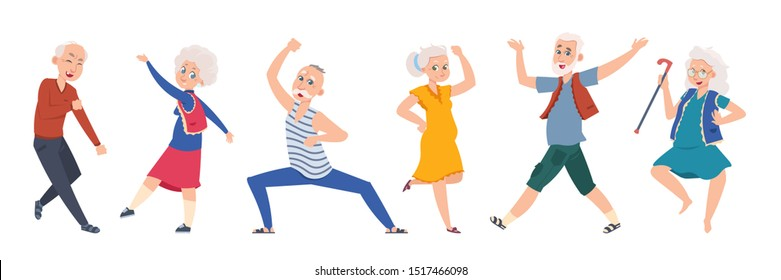 Old dancing people. Cartoon happy older characters, group of senior age persons having good time. Vector elderly flat funny friends grandparents on music party