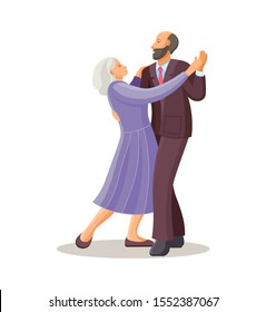 Old dancing people. Elderly man and woman senior aged persons dance waltz. Happy active elderly couple on music party. Dancers grandmother and grandfather cartoon vector illustration