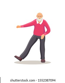 Old dancing people. Elderly man senior age person dances squatting. Happy active elderly pensioner in retro clothing is knitted sweater dancing cartoon vector illustration