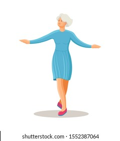 Old dancing people. Elderly woman in traditional national costume is dancing. Happy active elderly pensioner woman on music party. Dancer grandmother cartoon vector