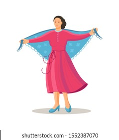 Old dancing people. Elderly woman in traditional national costume is dancing with shawl on her shoulders. Happy active elderly pensioner woman on music party. Dancer grandmother cartoon vector
