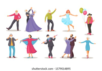 Old dancing people. Stylish elderly man and woman senior aged persons dance. Happy active elderly couple on music party together and singly. Dancers grandmother and grandfather cartoon vector