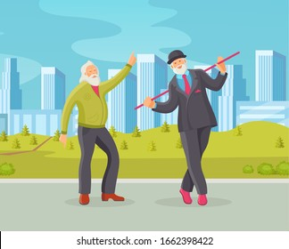 Old dancing people in town square. Elderly men senior age person dances in retro style. Happy active elderly pensioners in knitted sweater with cane in hand dancing cartoon vector illustration