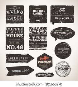 Old dark retro vintage grunge labels set, dirty texture