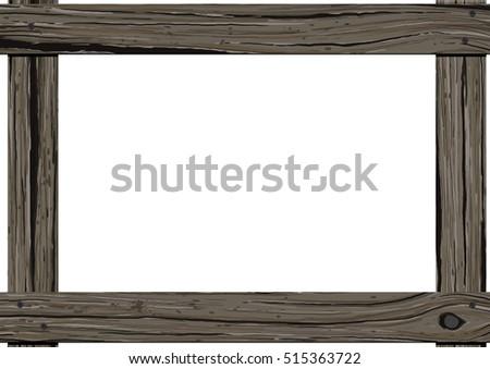 Old Dark Wood Horizontal Frame Empty Stock Vector (Royalty Free ...