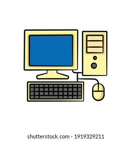 Old desktop computer in drawing style isolated vector. Hand drawn object illustration for your presentation, teaching materials or others.