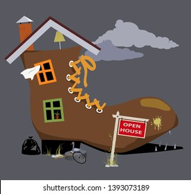 Old dilapidated shoe house with open house sign near it, EPS 8 vector illustration