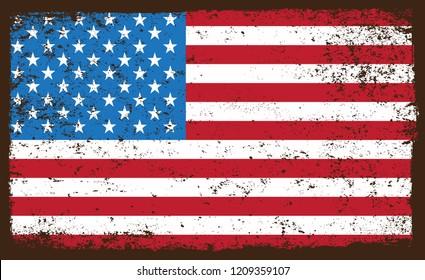 Old dirty American flag.Grunge flag of USA.