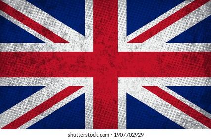Old dirty flag of United Kingdom.Grunge British flag.