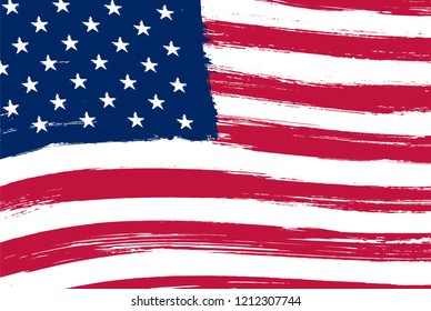Old dirty flag of United States.Grunge American flag.